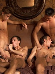 Euro jocks group cock sucking