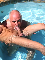 Older gay Jake sucking young cock in the pool