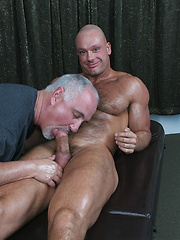 Jake doing oral and rimm job for bald hairy muscleman