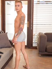 Gorgeous tattooed twink David Sky shows off his hard cock.